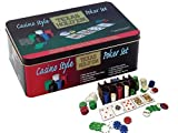 PROFESSIONAL TEXAS HOLD'EM POKER GAME SET GAMING MAT 200 PIECE WITH CHIPS, DECKS PLAYING CARDS AND TIN BOX - HOLD EM POKER SET by Express trading