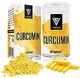 Vitalfuel - Curcumin Extrakt mit Piperin / Bioperin - Curcuma Kapseln hochdosiert mit - Kurkuma Kapseln - 500 mg pro Tagesdosis