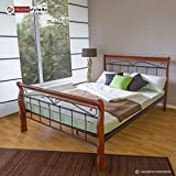 Homestyle4u Metallbett 160 x 200 Bettgestell Doppelbett Bettrahmen + Lattenrost 1008 schwarz