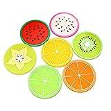 7PCS/1SET Bunt Allwetter Regenbogen Fruit Slice Drink Coffee Juice Cups Silikon Untersetzer Tisch-Sets Tablett für Bar Restaurant Getränk Shop