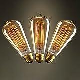 KJLARS 3x Vintage Edison Glühbirne Glühlampe E27 60W ST64 Filament Fadenlampe Für Nostalgie Retro Industry Style Leuchtmittel