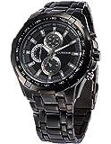 Herren Uhr Analog Quarzuhr Edelstahl schwarz Armbanduhr + AMPM24 Geschenkbox