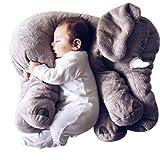 Misslight Baby Kind Elefant Schlaf Stuffed Weichem Plüschtiere Spielzeug Plüsch Kissen Lendenkissen besten Geschenke (L, Grau)