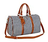 BAOSHA HB-24 Frauen Damen Segeltuch Weekender Tasche Reisetasche Handgepäck Canvas Travel Duffel Totes Weekend Overnight Bags Mit PU Leder Schulterriemen (Blau Streifen)