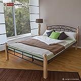 Homestyle4u Metallbett Bett Doppelbett 160 x 200 + Lattenrost Bettgestell 916 natur