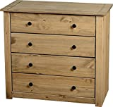 Mercers Furniture Panama 4 Schubladen Kommode, Holz, antique wax, 80 x 41 x 73 cm