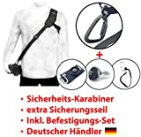 Kameragurt Schultergurt RAPID-01 + Befestigungs-Set (DEUTSCHER HÄNDLER) DSRL SLR + Secure Strap + Schnellmontageplatte + Adapterschraube 1/4 Zoll Adapterplatte / MIND-CARE-ESSENTIALS