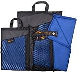 Sunland Extra Leicht und Kompakt Schnelltrocknendes Saugfähiges Mikrofaser Reisehandtuch Sporthandtuch Fitnesshandtuch Badetuch Saunatuch Handtüch (Schiefer blau, Set:1pc 80cmx150cm towel+1pc 40cmx80cm towel)