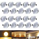 Hengda® 20X 3W Warmweiß LED Decken Einbaustrahler für Badezimmer Wohnzimmer küche Spot Leuchte Lampe Set 255Lumen 85-265V