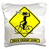 Mark Grace SCREAMNJENNY beachcruiser stickgirl - an image of a yellow caution placard featuring a stickgirl riding in the beach cruiser zone - 16x16 inch Pillow Case (pc_124066_1)
