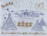 Viva Decor My Paper World Silikon-Stempel 068 Set mit 8 Stempel, 'Weihnachtslandschaft', Clearstempel, Motive: Dorf im Schnee, Tannenbaum, Zaun, Rentiere mit Schlitten usw.