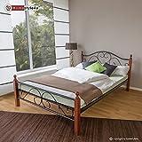 Homestyle4u Metallbett 160 x 200 Bettgestell Doppelbett Bettrahmen + Lattenrost 815 schwarz