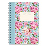 LifeDesign Notizbuch A5 Notizheft Spiralbuch 'Rose' 120 Seiten creme liniert Softcover FSC