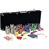 Ultimate Black Edition Pokerset, 500 hochwertige 12 Gramm METALLKERN Laserchips, 100% PLASTIKKARTEN, 2x Pokerdecks, Alu Pokerkoffer, 5x Würfel, 1x Dealer Button, Poker, Set, Pokerchips, Koffer, Jetons