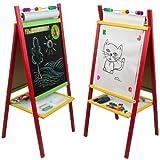 4U Standkindertafel 98x45cm Papierrolle Abakus Standtafel Kindertafel Magnettafel Maltafel