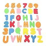 W-top 36pcs Babys Badespielzeug Lernen Bade Buchstaben und Zahlen mit Badezimmer Spielzeug Organizer. Das Beste Lehrreiche Badewannenspielzeug mit Hochwertigem und Ungiftigen BPA-freuen Schaumstoff Buchstaben, Perfekte Geschenk für Kinder, Baby, Kleinkinder
