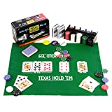 Pokerset 200 Pokerchips Spielmatte Pokerkarten Geschenkbox aus Metall 2 Decks, Dealer Button, Small Blind, Big Blind, Pokerkarten in Geschenk-Box aus Metall
