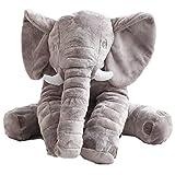 J&L Elephant Kissen Nettes Tier Elefant Kissen aus Neuheit Plüsch weiches Spielzeug für Dekoration, Geschenke für Kinder Baby Plüschtiere PP Baumwolle (Grey)
