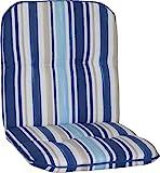 Gartenstuhlauflage Gartenstuhlkissen Sitzkissen Polster für Niedriglehner Gartenstühle Streifen hellblau, blau, weiss und beige