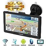 Hieha 7' Zoll LKW PKW GPS Navigationsgerät Navi Navigation Europe Traffic Bluetooth Blitzerwarnungen POI Fahrspur- und Parkassistent lebenslang kostenlose Karte-Updates Android 16GB 512MB