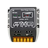 YKS Solarpanel Controller 20A 12V/24VBatterie Regler sicheren Schutz Solar Laderegler, Überlastung & Kurzschluss-Schutz