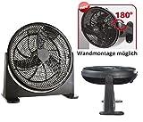 Bodenventilator Power Windmaschine Ventilator Wandventilator Standventilator Luftkühler 180° neigbar Wandmontage möglich 75Watt Ø41cm