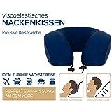 Reise-Nackenkissen, bequem weiches, stützendes, leichtes Reisekissen Form Nackenhörnchen für guten Schlaf im Flugzeug, Zug oder Auto. Inklusive Tragetasche - ergonomischer Memory Foam (blau)