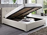 Polsterbett Bett mit Bettkasten beige Betty Doppelbett Ehebett mit Lift Lattenrost (160 x 200 cm)