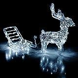 LED Rentier mit Schlitten für Innen und Aussen - 64 LEDs mit kalt-weißem Licht / Metall, klares Acryl - Weihnachtsdekoration Weihnachtsbeleuchtung Gartendekoration Festbeleuchtung