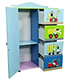 Kinder Kommode Schrank Kinderregal Blau Autos Schiffe Mini Turbo