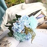 Dahlia künstliche Blume, Longra Real Touch Künstliche Parfüm Blumen Kunstblumen Künstliche Blumen Dekoration Künstliche Hydrangeablume für Hochzeit/Bouquet /Vasen/Party Dekor Blumenstrauß (blue)