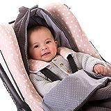 Fußsack universal für Babyschale z.B. Maxi-Cosi - außen und innen 100% Baumwolle - Grau