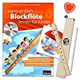 Blockflöten Set: Flötenlilli Blockflöte ( barocke Griffweise ) + Blockflötenschule für Kinder - die ideale Schule für Anfänger mit CD, Grifftabele und bunter herzförmiger Notenklammer