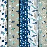 Textiles français Stoffpak - Stoffpaket (Kollektion Winterfest - blau, beige, grün, taupe, grau & weiß) | 5 Stoffe | 100% Baumwolle | jedes Stück 35 cm x 50 cm