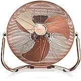 Retro Windmaschine / Ventilator im Kupfer-Design (Retro-Stil) | Standventilator 50cm | Leistungsaufnahme 120W | hoher Luftdurchsatz | Bodenventilator