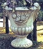 Vase mit Rosen, Amphore, Blumentopf, Pflanzkübel, Topf, Stein, H 78 Farbe hellgrau