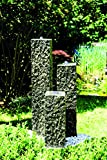 Köhko Springbrunnen 'Lilienstein' 3-teiliger Komplett-Set 40-60-80 cm inkl. LED-Beleuchtung Gartenbrunnen aus Polyresin in Natursteinoptik