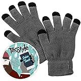 Touchscreen Handschuhe Polar Touch von TecStyle®, Smartphone Handschuhe fürs Handy Display, Grau & Schwarz, elastische Universalgröße, für Herren & Damen (unisex), B-Ware