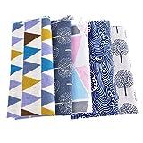 Souarts 5 Stück Stoffpakete DIY Baum Muster Baumwolltuch Patchwork Stoffe Paket 100x50cm
