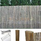 Bambus Sichtschutzmatte Windschutz Bambusmatte Sichtschutz Garten-Zaun Natur (170 cm Höhe, 4m Länge)