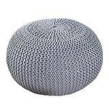 Design Pouf LEEDS 50 cm grau Bezug aus Strick Garn Sitzgelegenheit Fußhocker Sitzpouf gepolstert Sitzkissen