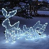 Rentier mit Schlitten beleuchtet LED kaltweiß außen von Gartenpirat