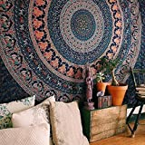 Handicrunch Indian Elephant Peacock Mandala Tapestry ,Indian Hippie Tapestry, Wall Hanging,Bohemian...