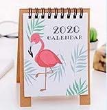 Chengxin Wandkalender Handzeichnung 2020 Cartoon Mini Flamingo Desktop-Papier Kalender Dual Täglich Scheduler Tabelle Planner Jahres Agenda Organizer Familienkalender (Color : Flamingo)