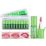 Creacom 10 Stück Aloe Vera Lippenstift Gelee Lippenstift Feuchtigkeitscreme Lippenbalsam Magische Temperatur Farbwechsel Lippenstift Kit