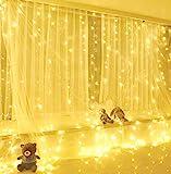 Yizhet 300LEDs Lichtervorhang 3 x 3m USB Lichtervorhang Lichterkette LED Lichterkettenvorhang mit 8 Modi, IP65 Wasserdicht Deko für Weihnachten, Partydekoration, Innenbeleuchtung (Warmweiß)
