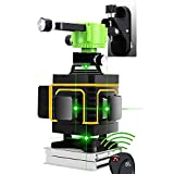 4D 16 Linien Kreuzlinienlaser Grün 4 x 360 Linienlaser selbstnivellierender Laser Nivelliergerät manueller Modus Vertikale und Horizontale Linie Fernbedienung für Wandmagnethalterung für Hebebasis