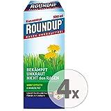 Gardopia Sparpaket: Roundup Rasen-Unkrautfrei Konzentrat Unkrautvernichter, 4 x 500 ml + Zeckenzange mit Lupe