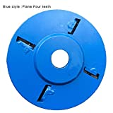 Qlaba Mehrfarbig Holzbearbeitungsscheibe Gravierwerkzeug Bogen/Flachzahn Holz Turbine Gravurscheibe Fräser, blau, Plane Four Teeth