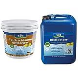 Söll TeichschlammEntferner doppelt wirksam gegen Teichschlamm 2,5 kg - biologischer Teichreiniger entfernt organischen Schlamm & BioBooster Teichbakterien für klares Wasser rein biologisch 2,5 l